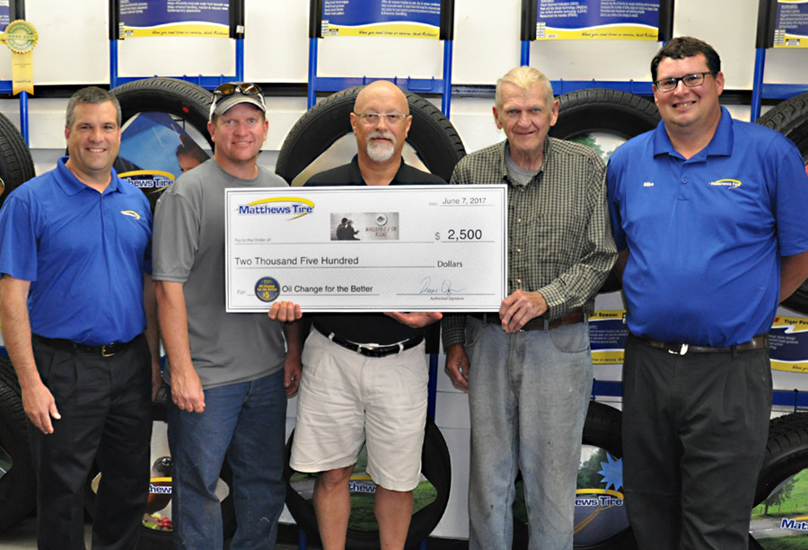 Matthews Tire Donates $2,500 to Walleyes for Kids